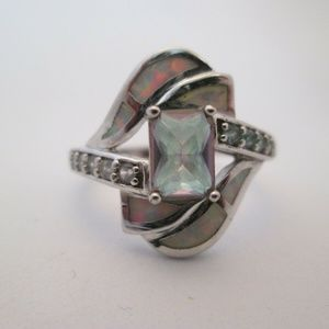 ring/sterling emeral cut size 8.5